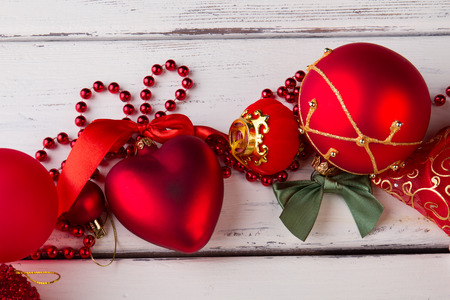 red decorations on white background heart figurine bead garland balls fill your - Christmas Bead Garland