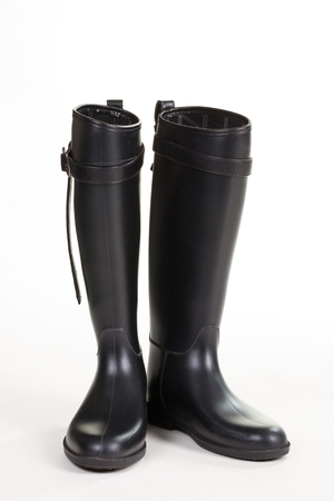 Beautiful high-quality rubber boots. Autumn shoes on rainy weather.