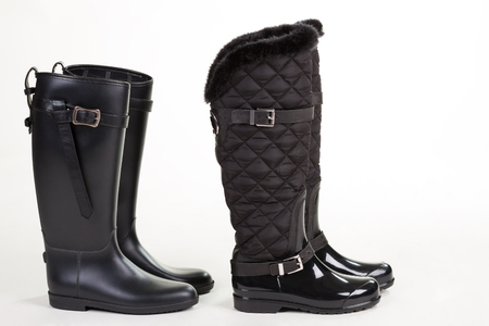 Beautiful stylish rubber boots. Fashion autumn womens shoes.