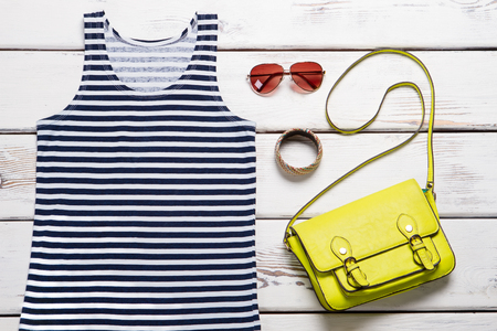 Summer sea top, bags and accessories for women. The new summer collection of clothing. Imagens