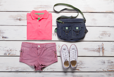 Sport summer clothing. Youth bright outfit.
