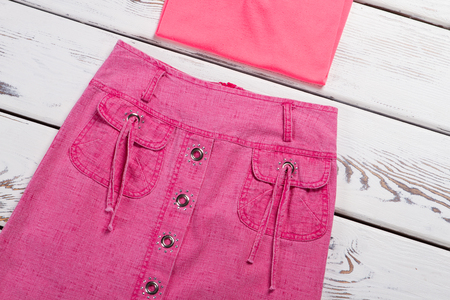 Pink skirt and T-shirt. Beautiful skirt with sequins.