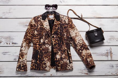 Leopard blazer and black purse. Sunglasses and vintage bag. Luxury clothing item on display. Designer clothes at special price.