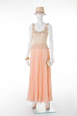 Beautiful elegant evening dress. Long skirt and knitted top.