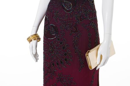 Long maroon dress embroidered with beads. Beautiful dress for slim girls.