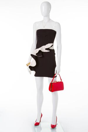 Cocktail dress with red shoes and handbag. Evening white-black dress with abasque.
