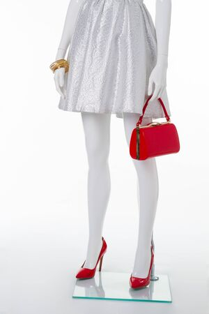 Stylish silver dress, red bag and red shoes.
