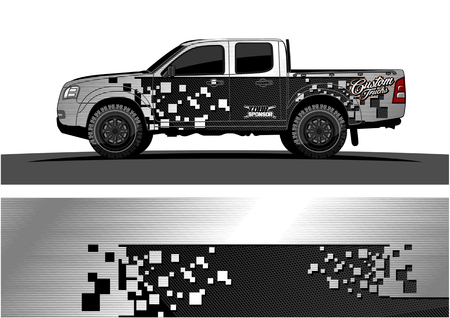 Truck graphic vector. Abstract grunge background design for vehicle vinyl wrap Reklamní fotografie - 100181783