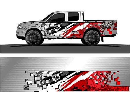 Vrachtwagen grafische vector. Abstract grungeachtergrondontwerp voor de omslag van het voertuigvinyl