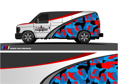 Van Graphic vector. Abstract curved shape with camouflage background