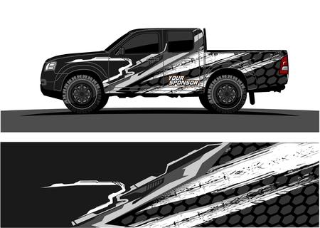 LKW-Grafikvektor. Abstrakter Schmutz-Hintergrundentwurf für Fahrzeug-Vinylverpackung