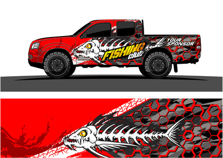 Truck graphic vector. Abstract grunge background design for vehicle vinyl wrap Archivio Fotografico - 100181790