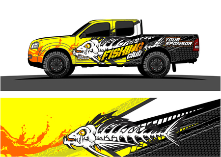 Vector gráfico de camión. Diseño de fondo grunge abstracto para envoltura de vinilo de vehículo Foto de archivo - 100181791