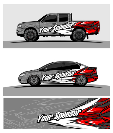 car graphic vector. abstract racing shape design for vehicle vinyl wrap Stock Vector - 100260720