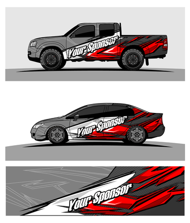 car graphic vector. abstract racing shape design for vehicle vinyl wrap Stock Vector - 100243746