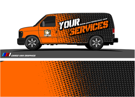 Vector gráfico de furgoneta de carga. Diseño de fondo grunge abstracto para envoltura de vinilo de vehículo