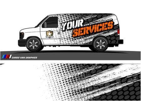 Cargo van graphic vector. abstract grunge background design for vehicle vinyl wrap