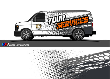 Cargo van graphic vector. abstract grunge background design for vehicle vinyl wrap 스톡 콘텐츠 - 100678515