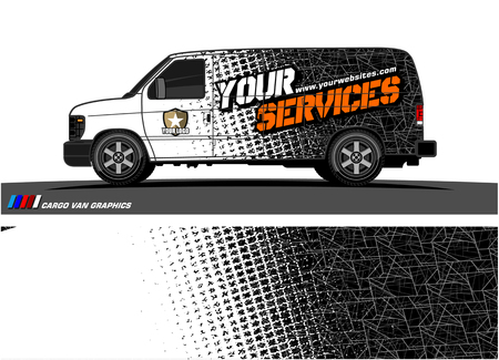 Cargo van graphic vector. abstract grunge background design for vehicle vinyl wrap Stock fotó - 100678521