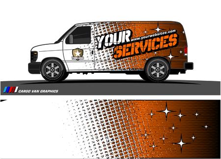 Cargo van graphic vector, abstract grunge background design for vehicle vinyl wrap.