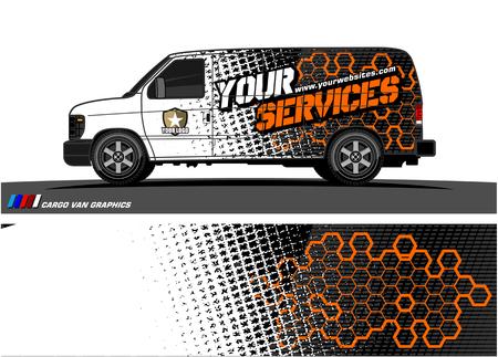Cargo van graphic vector abstract grunge background design for vehicle vinyl wrap.