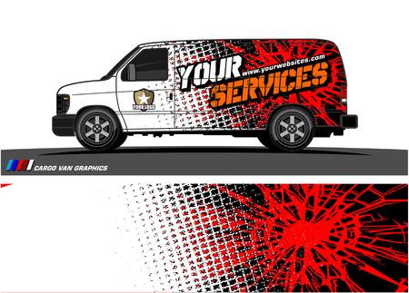 Cargo van graphic vector. abstract grunge background design for vehicle vinyl wrap Foto de archivo - 100363806