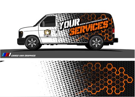 Wektor graficzny furgonetki. abstrakcyjny wzór tła grunge dla pojazdu winylowego