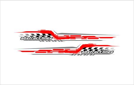 abstract tech shape lines design for car Stripe sticker design Illustration