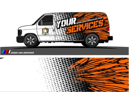 Vettore grafico del furgone del carico. disegno astratto sfondo grunge per involucro di vinile del veicolo Vettoriali
