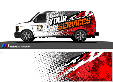 Cargo van graphic vector abstract grunge background design for vehicle vinyl wrap. Stock fotó - 100360942