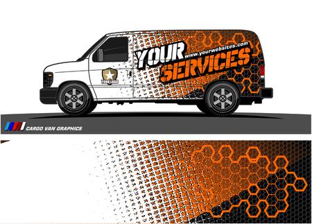 Grafischer Vektor abstrakter Schmutz-Hintergrundentwurf des Frachtwagens für Fahrzeug-Vinylverpackung.