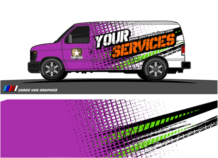 Cargo van graphic vector abstract grunge background design for vehicle vinyl wrap.