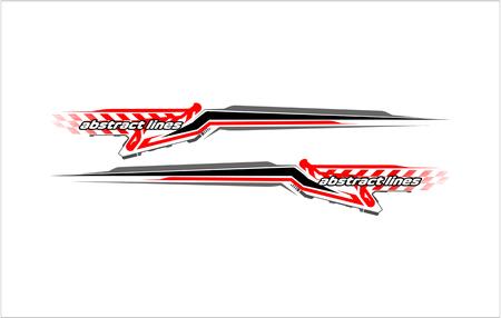 Abstract tech shape lines design for car stripe sticker design. Illustration