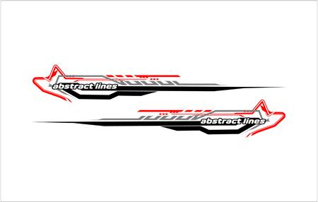 Abstract tech shape lines design for car stripe sticker design. Illusztráció
