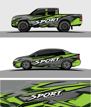 car livery Graphic vector. abstract racing shape design for vehicle vinyl wrap background Imagens - 100592378
