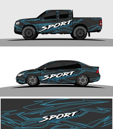 auto livrei Grafische vector. abstract race-vormontwerp voor de achtergrond van de voertuigvinylomslag Vector Illustratie
