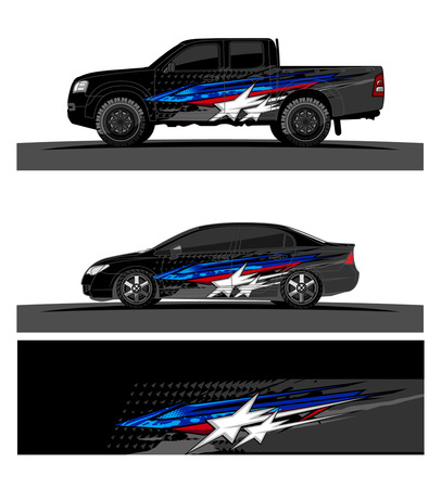 Car livery Graphic vector. abstract racing shape design for vehicle vinyl wrap background. Stock fotó - 100589848