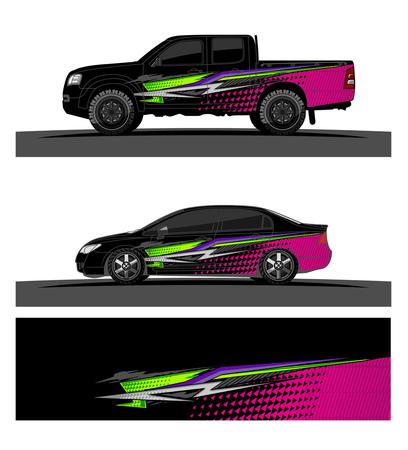 車のリベリーグラフィックベクトル。車両ビニールラップの背景のための抽象的なレーシング形状のデザイン