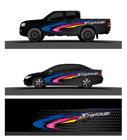 Car livery Graphic vector. abstract racing shape design for vehicle vinyl wrap background. Stock fotó - 100589849