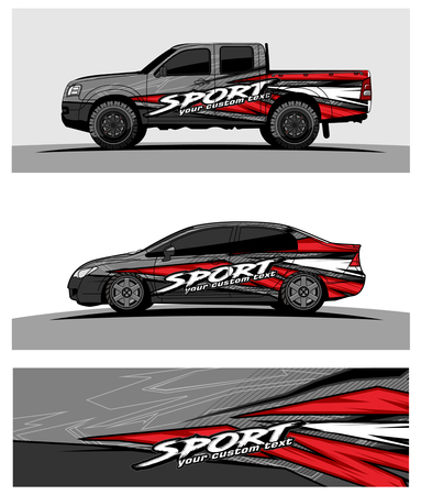 Car livery Graphic vector. abstract racing shape design for vehicle vinyl wrap background Vectores