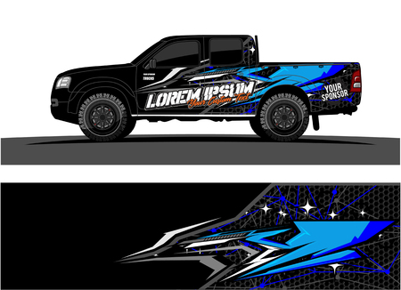 Car livery Graphic vector. abstract racing shape design for vehicle vinyl wrap background, Vectores