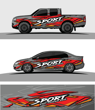car livery Graphic vector. abstract racing shape design for vehicle vinyl wrap background 스톡 콘텐츠 - 102089013