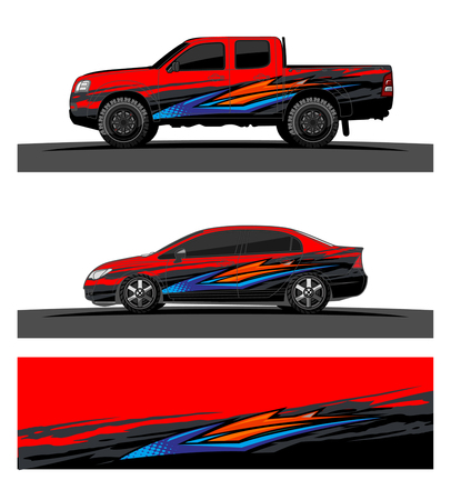 car livery Graphic vector. abstract racing shape design for vehicle vinyl wrap background Reklamní fotografie - 102089032