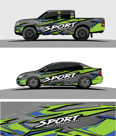 pickup Truck Graphic vector. abstract racing shape design for vehicle vinyl wrap background Vectores