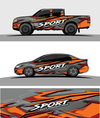 camioncino grafico vettoriale. disegno astratto di forma da corsa per lo sfondo del rivestimento in vinile del veicolo Vettoriali