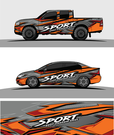 pickup Truck Graphic vector. abstract racing shape design for vehicle vinyl wrap background  イラスト・ベクター素材