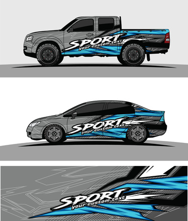pickup Truck Graphic vector. abstract racing shape design for vehicle vinyl wrap background Illustration