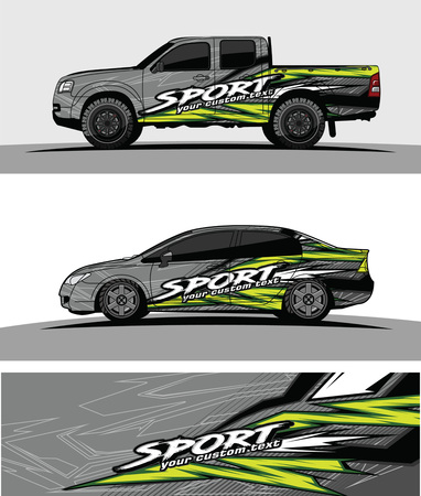 pickup Truck Graphic vector. abstract racing shape design for vehicle vinyl wrap background 일러스트