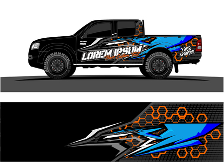 pickup Truck Graphic vector. abstract racing shape design for vehicle vinyl wrap background Ilustrace
