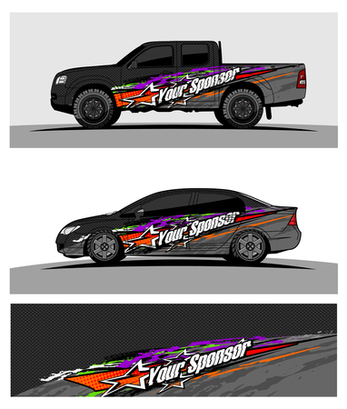 pickup Truck Graphic vector. abstract racing shape design for vehicle vinyl wrap background Çizim